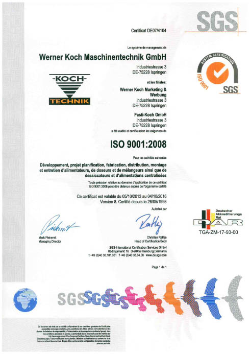 Certificate ISO FRENCH